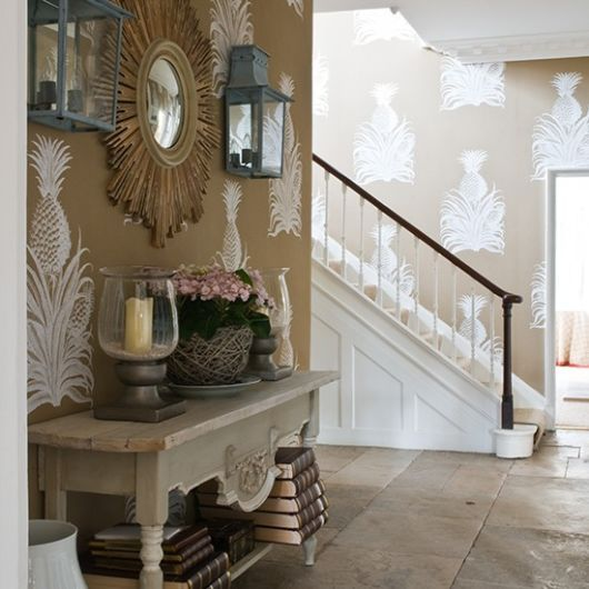 Chic Cottage Foyer Features Wall Clad In Brunschwig U0026 Fils Pineapple  Wallpaper Lined With A Rustic French Console Table Under A Julian  Chichester Sunburst ...