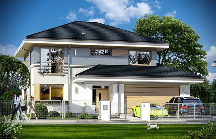 """Piętrowa komfortowa willa miejska, z podpiwniczeniem i podwójnym garażem,przeznaczona dla 4-6cioobowej rodziny. """"Sydney"""" to wygodny nowoczesny dom, o ciekawej bryle i funkcjonalnie rozwiązanych wnętrzach. Dom jest energooszczędny - zastosowano w nim dobre materiały i technologie, aby podnieść komfort mieszkańców. Duże przeszklenia, okładziny ścian, kolorystyka - wszystko utrzymane jest w nowoczesnym stylu."""