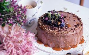 Обои цветы, торт, орехи, пионы, крем, карамель, ежевика