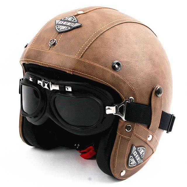 Venta caliente de los hombres de cuero de la motocicleta de la vendimia casco open face retro cascos de la motocicleta del crucero piloto jet moto cascos capacete dot