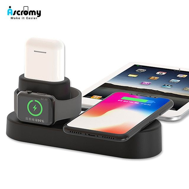 Ascromy Fast Wireless Charger Pad Dock Station For Iphone Xs Max Xr X 8 Plus 10 Apple Watch 3 2 Induction Charg Wireless Charger Apple Watch Iphone Apple Watch