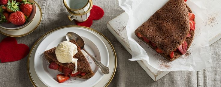 Perfect with a scoop of ice cream and some strawberries, these chocolate pancakes are light and moreish.