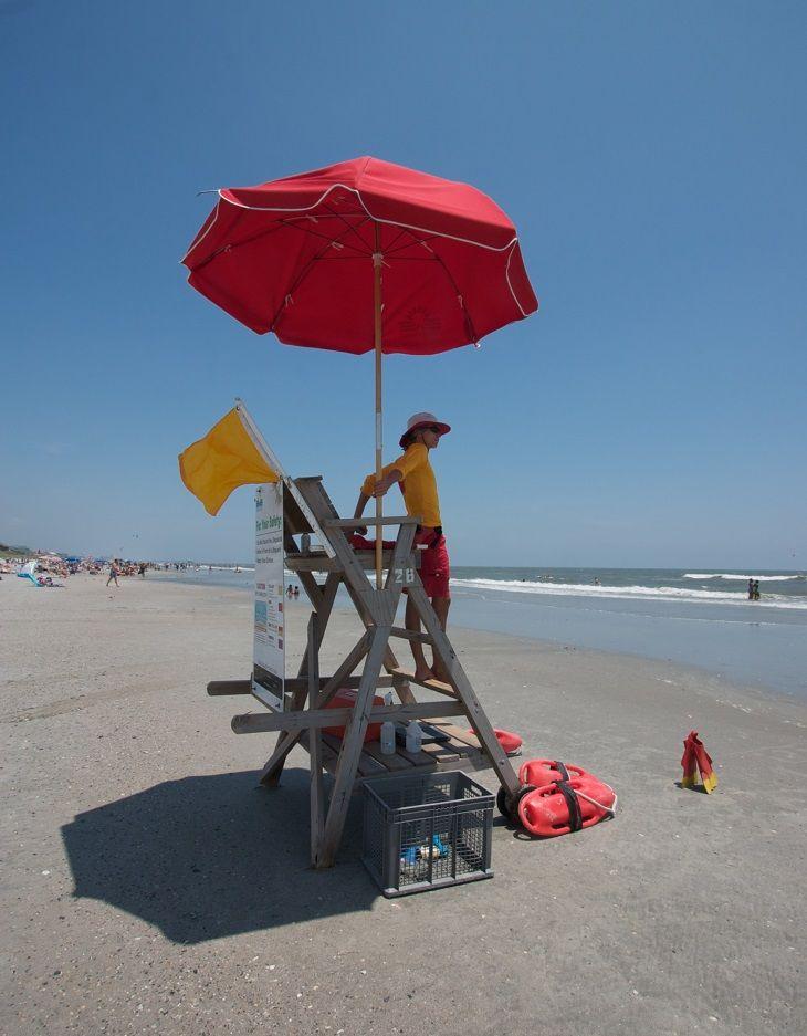 The designated swimming area at Folly Beach County Park, South Carolina, is vigilantly monitored by trained lifeguards (on duty seasonally).