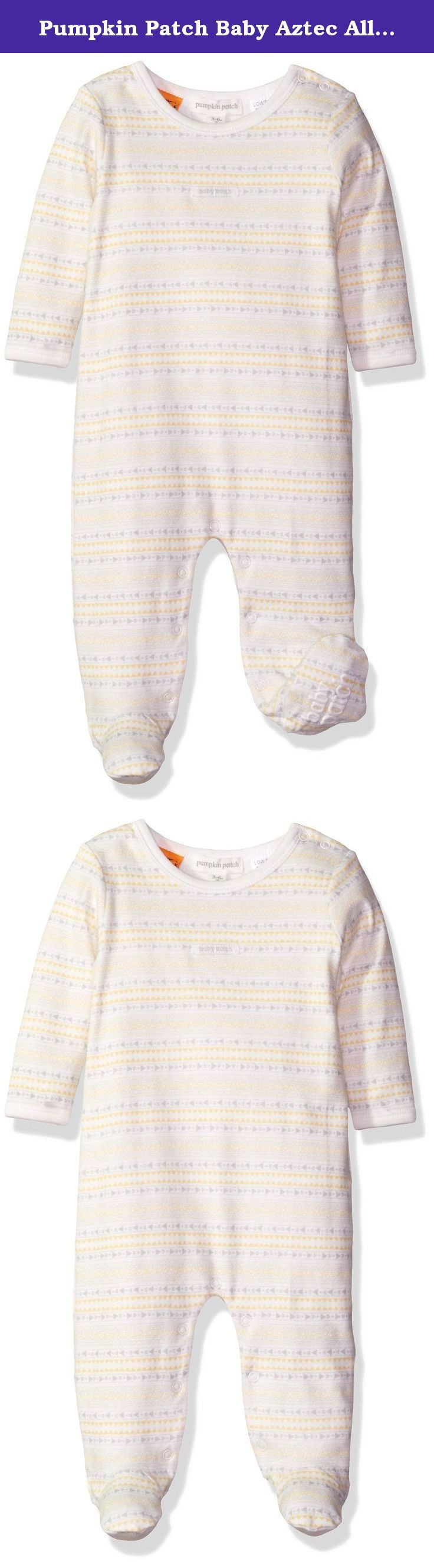 Pumpkin Patch Baby Aztec All in One, French Vanilla, 0-3m. Cute Aztec allover print. Featuring built in feet to keep their little toes snug and warm. Made in the softest cotton this bodysuit has a crossover opening meaning baby can lie comfortably during change time without having anything pulled over his/her head.