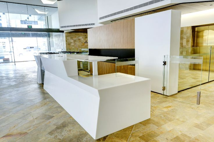 Hi-Lo sit stand reception desk. Designed & manufactured by Burgtec. (HBF Health project)