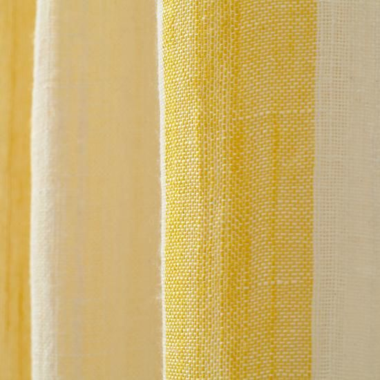 Line Up Striped Linen Curtains Yellow