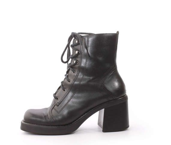Women's Brown Leather Smooth & Engraved Texture Metallic Buckle Platform High Boot
