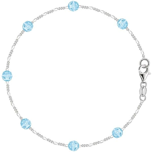 Baby blue synthetic resin bead chain anklet in sterling silver (360 BRL) ❤ liked on Polyvore featuring jewelry, anklet jewelry, sterling silver jewelry, sterling silver jewellery, imitation jewelry and fancy jewellery