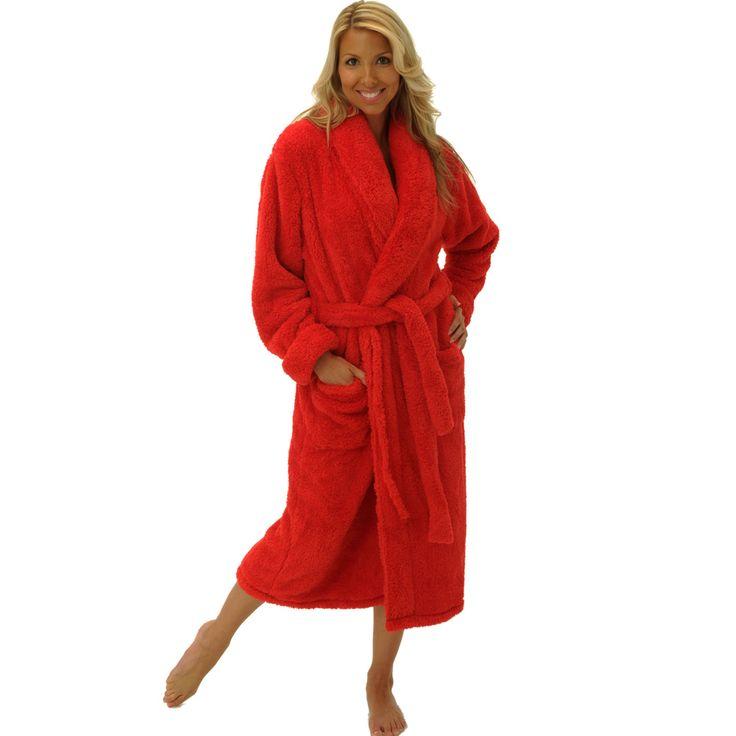 Red Fleece Bathrobe   Fashideas.com