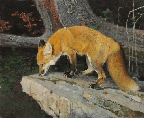 A painting by Bob Kuhn, my favorite wildlife artist. You can tell that he not only loves the animals, he also loves the shapes and the textures of which they are composed.