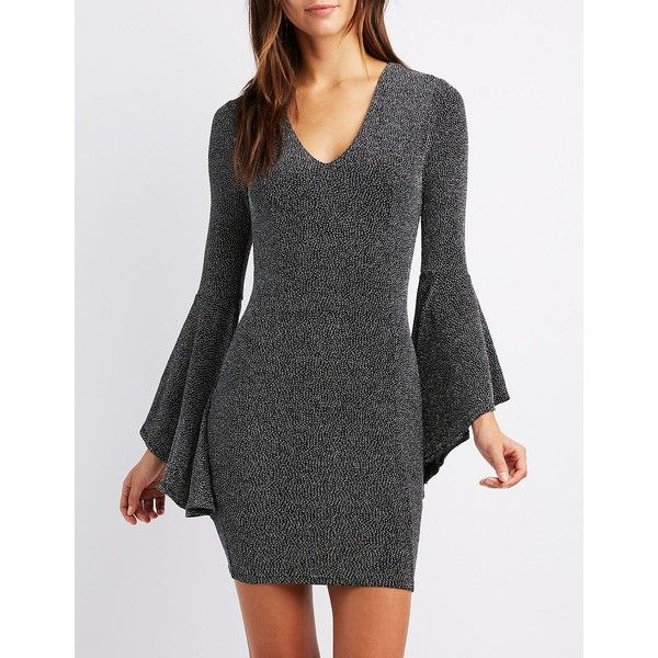 Charlotte Russe Bell Sleeve Bodycon Mini Dress ($30) ❤ liked on Polyvore featuring dresses, silver, bell sleeve dress, short mini dress, v-neck dresses, v neckline dress and silver bodycon dress