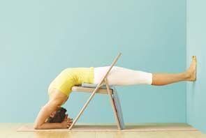 dwi pada viparita dandasana  iyengar yoga chair pose