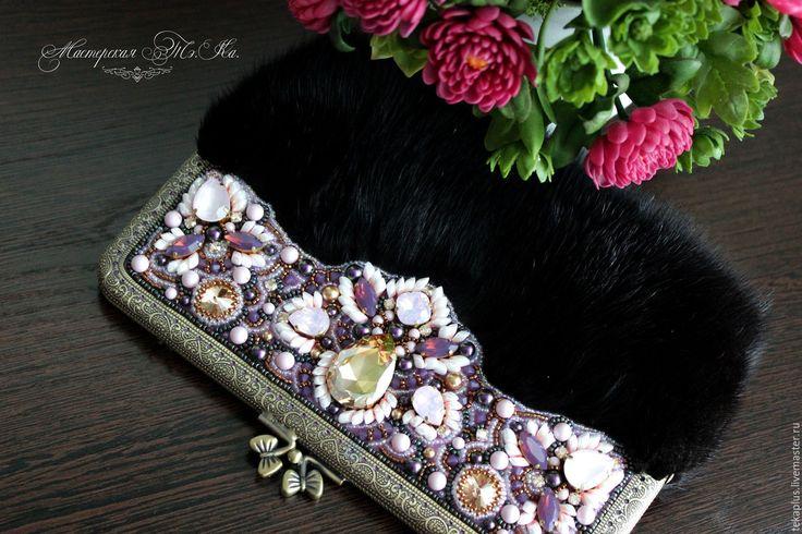 Купить Вечерняя сумочка, Клач из меха норки Гламур - розовый, абстрактный, черный, розово-черный