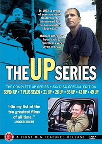 56Up is now being released. Humbling, beautiful, controversial, and in a word, amazing series following the lives of a group of British kids beginning in the '50s, now in their mid-50s (checking in every 7 years).