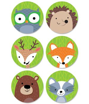 """Whimsical Woodland Friends 3"""" cut-outs will brighten any classroom or child's room. Friendly woodland animals featured are the raccoon, fox, deer, hedgehog, owl on a green leafy background. These Woodland Friends cut-outs are perfect for use in a variety of classroom displays and themes including science, nature, outdoors, animals, and camping. They also make perfect decorations for a child's party."""