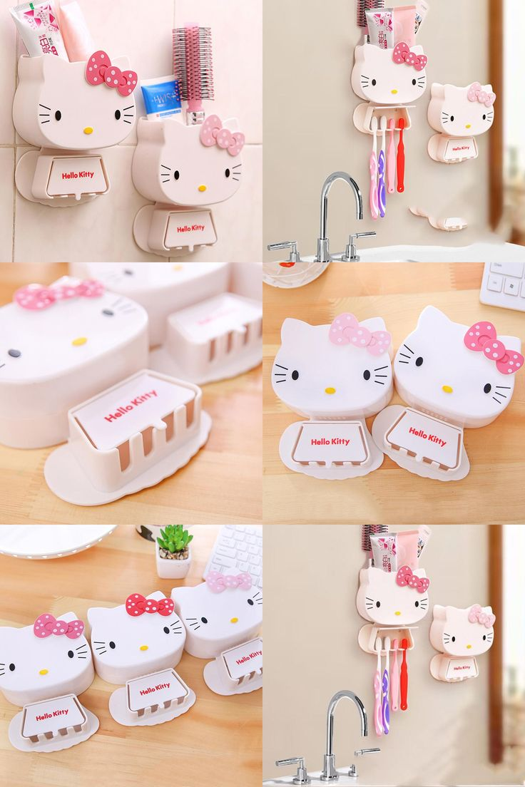 Hello kitty bathroom accessories -  Visit To Buy 1 Pc Multifunction Cartoon Toothbrush Holder Hello Kitty Storage Box Bathroom