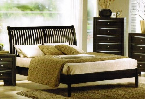 A great Eastern King sized bed, which is also known as a standard king size bed (source: http://www.king-bed-sizes.com) featuring an espresso / cappuccino finish with a mission style headboard.