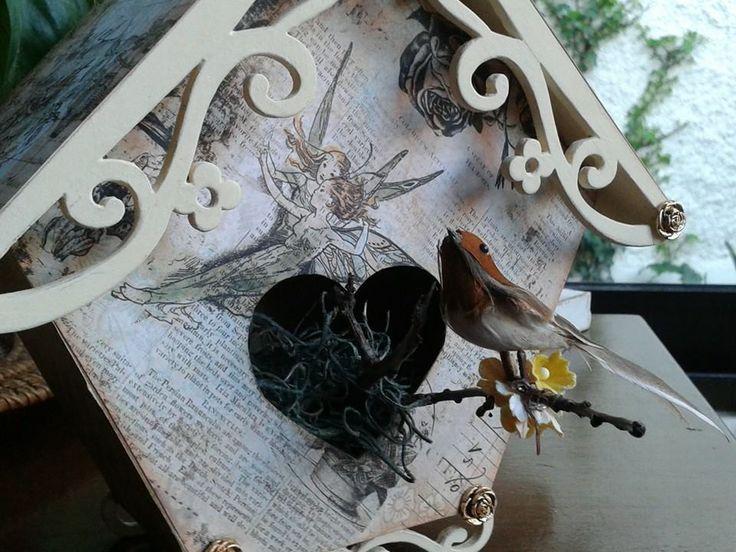 casa de pajarito decorativa técnica scrapp