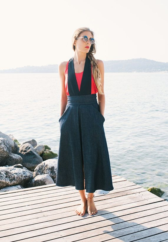 Falda larga de mezclilla / falda con bolsillos delantero raja