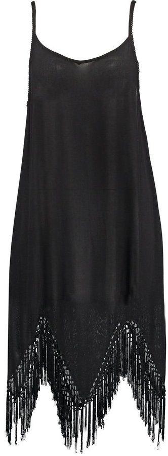 Bik Bok schwarzes Spaghettiträger Kleid mit Fransen am Saum (40 €)