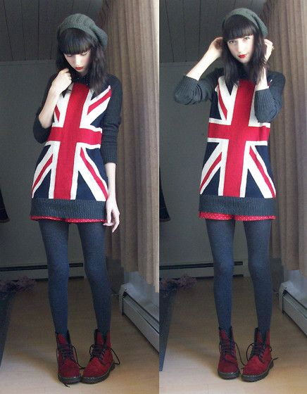 """Forever21 Union Jack Sweater, Doctor Marten Red Velour Doc Martens //""""Tea and Red Lips"""" by Danielle E. // LOOKBOOK.nu"""