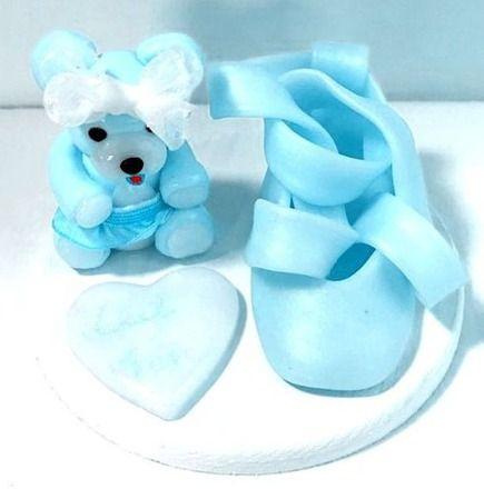 Fimo creation personnalisé, fait main : figurine, miniature, ours bleu, ballerine, chausson de danse bleu, étiquette prénom  : Accessoires de maison par cadeaumagique
