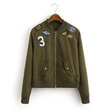 #3043 Primavera 2017 Crachá Mulheres jaqueta Bomber casacos básicos Jaqueta feminina Preto/mulheres jaqueta de mulheres jaqueta Militar Do Exército moda alishoppbrasil
