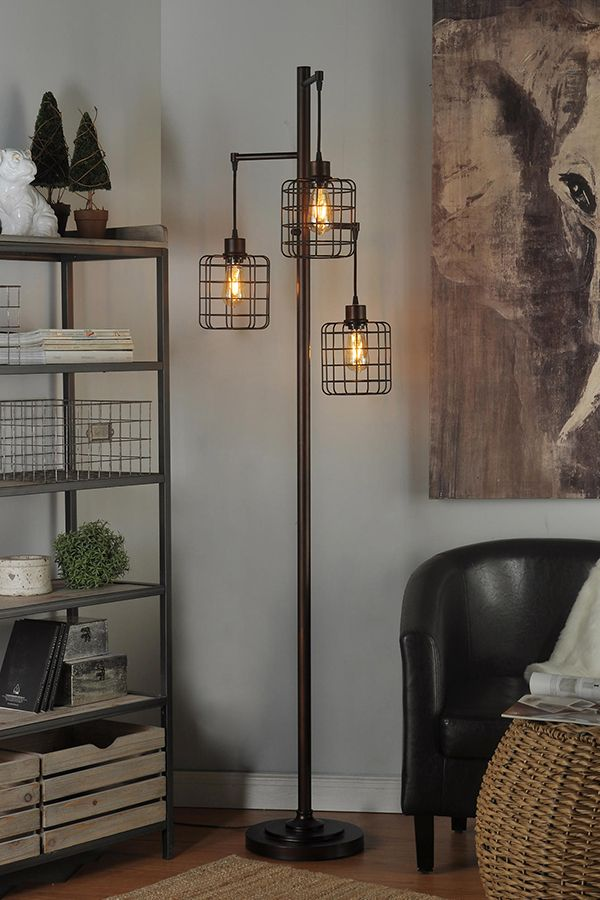 The Piper Lamp Is A 72 Inch Tall Rubbed Bronze Industrial Steampunk Inspired Three Headed Floo Floor Lamps Living Room Lamps Living Room Industrial Floor Lamps