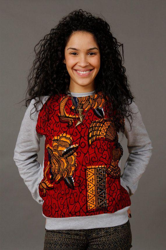 Cool urban wear > Ankara Sweatshirt African Wax Print unisex by SoTribal