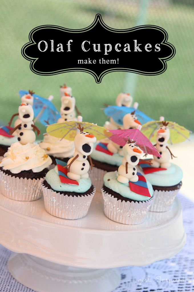 YUM! Olaf Cupcakes from @girlinspired