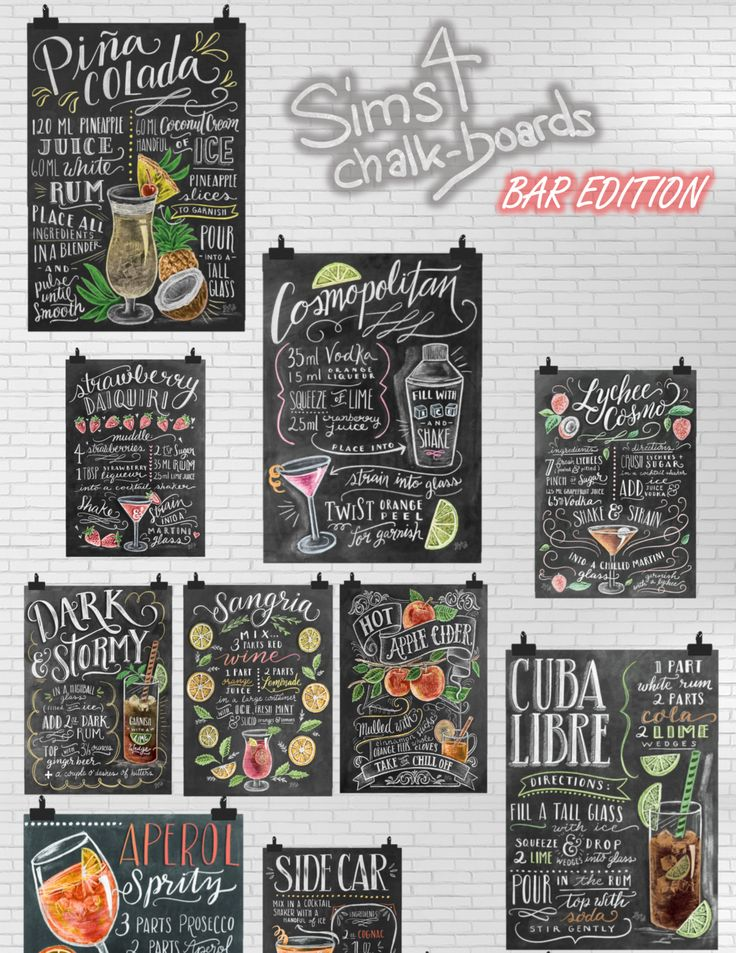 Get your own bar chalkboards for the Sims 4! #sims4 #sims4cc #nadileinscc #nadileinscc.tumblr.com #chalkboard #walldecor #decoration #cc #customcontent #painting #poster #drinks #barstuff #bar
