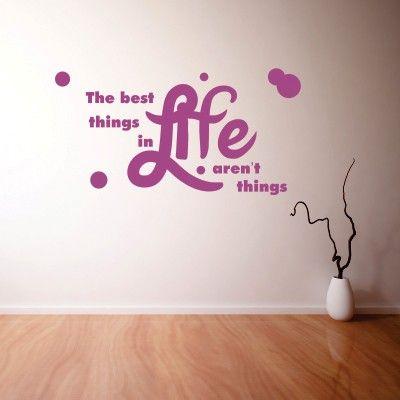 """Adesivo Murale - Things in Life.  Adesivo murale di alta qualità con pellicola opaca di facile installazione. Lo sticker si può applicare su qualsiasi superficie liscia: muro, vetro, legno e plastica.  L'adesivo murale """"Things in Life"""" è ideale per decorare il vostro soggiorno. Adesivi Murali."""