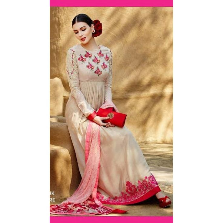 Georgette Embroidery Suit in Beige & Pink Colour for Modern Attire