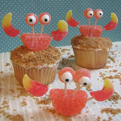 Crab Cupcakes made with gummies, toothpicks and candy eyes