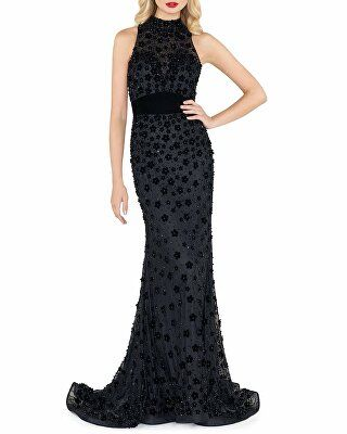 f6154a6ab1 Mac Duggal Designer High-Neck Sleeveless Gown with Floral Applique ...