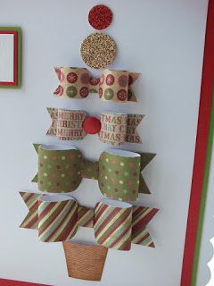 Craftwork Cards Blog: Christmas ...... in July. Christmas tree made from die cut paper bows. Traditional red and green colours. Great card for children to make.