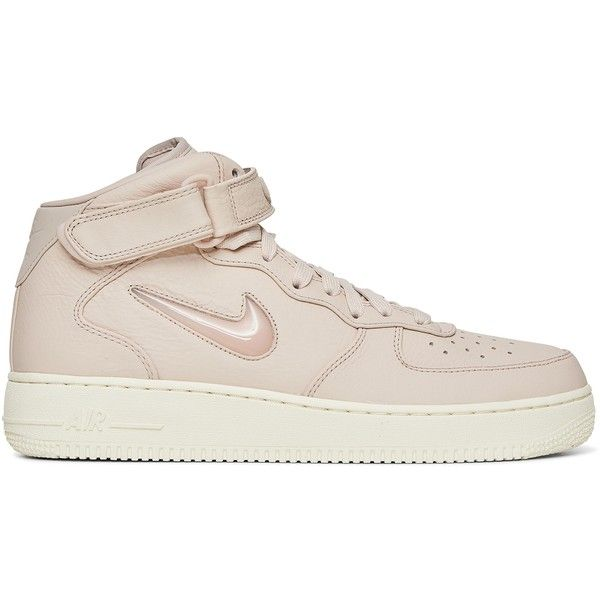 Nike Air Force 1 Mid Retro PRM Sneakers ❤ liked on Polyvore featuring shoes, sneakers, retro sneakers, summer sneakers, off white shoes, champagne shoes and nike footwear