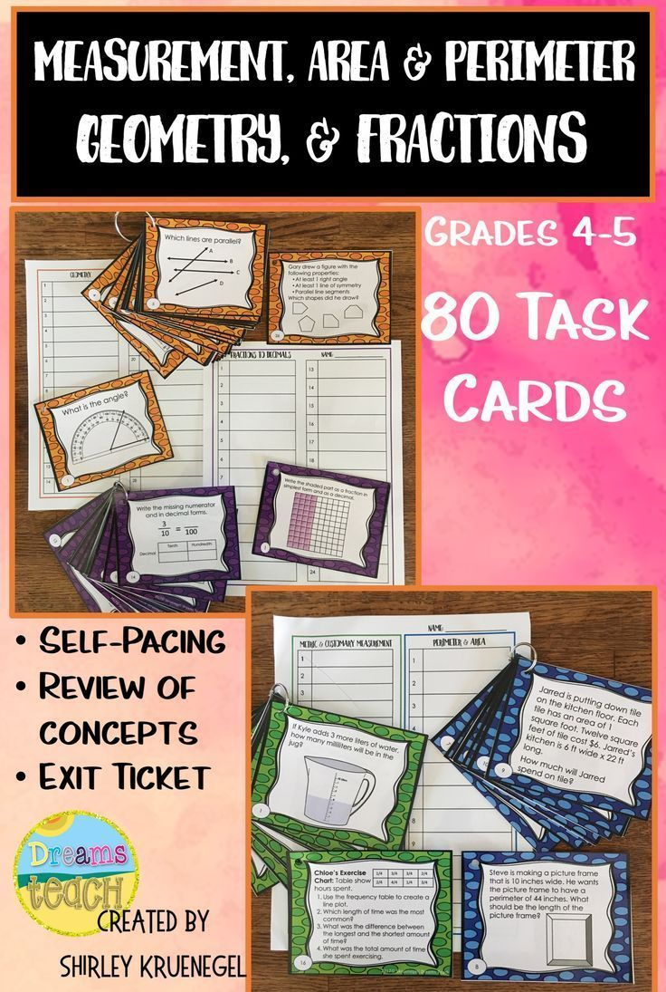 4th Grade math task cards. Decimals, measurement, area and perimeter, and geometry practice. Common Core alignment. Great for centers, partners, small group, or exit tickets. Click here to see more and look at the preview. #mathtaskcards #4thgrademath #ma