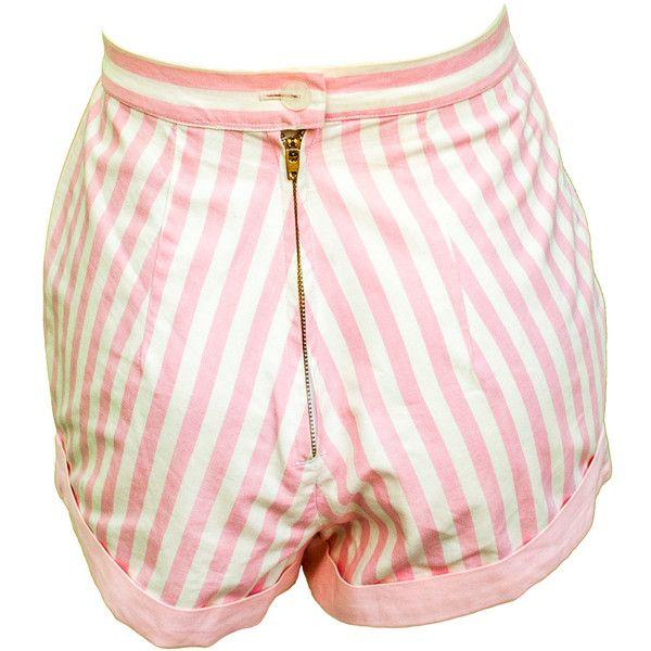 1950s Small Short Set Bikini High Waist Pink Retro Pin Up Resort Set... ($128) ❤ liked on Polyvore featuring swimwear, bikinis, vintage high waisted swimsuits, vintage swimsuits, bikini swimsuit, retro high waisted bikini and high waisted swimsuit