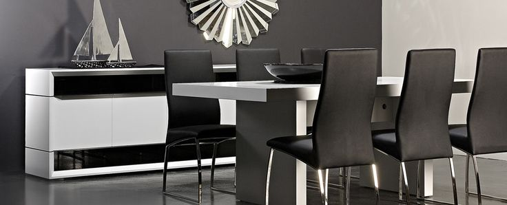 Manhattan white dining Art deco inspired design, this collection features brushed stainless steel detail and black glass, perfect to create a chic, stylish New York apartment look. While you may not live uptown, at least create a slice of the lifestyle.