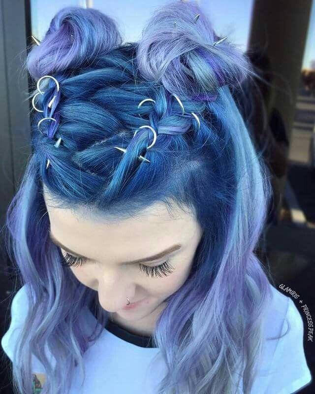 Blue teal purple lavender lilac ombré hair #hairstyle #haircolor
