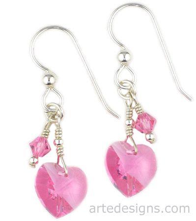 handmade Heart Earrings   These heart shaped Swarovski crystal earring in rose color are short ...
