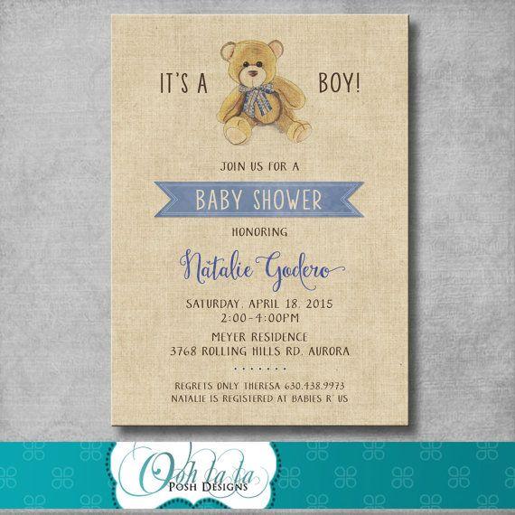 Teddy Bear Baby Shower Invitation - Vintage Inspired - It's a Boy - Blue - Brown - Burlap - Printable - Customizable - Digital - DIY