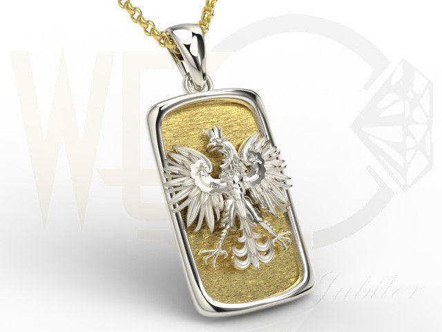 Wisiorek z żółtego i białego złota z orłem / Pendant made from yellow and white gold / 1375 PLN #gold #pendant #jewelry #jewellery #bizuteria #man