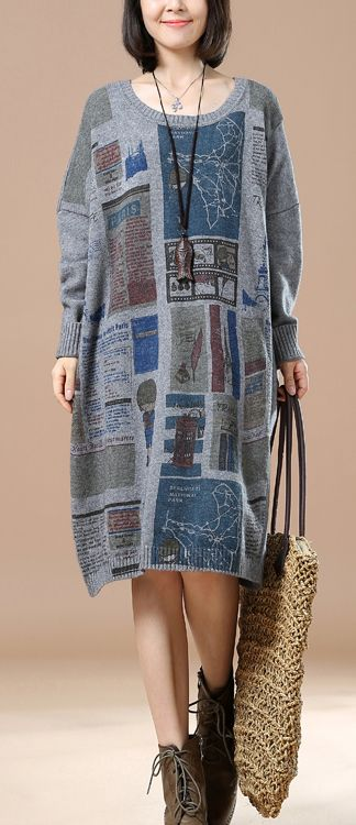 Gray newspaper print winter dresses plus size sweaters