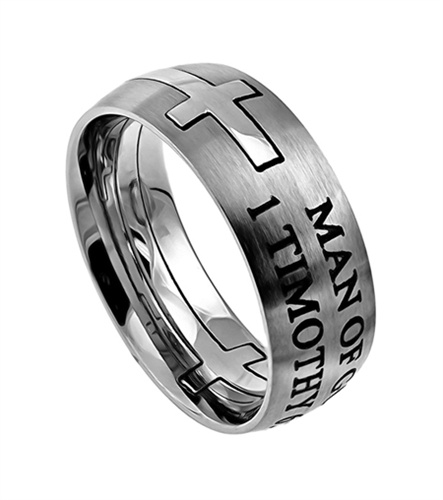 square double cross silver man of god christian purity ring 1 timothy 6 - Wedding Rings For Guys