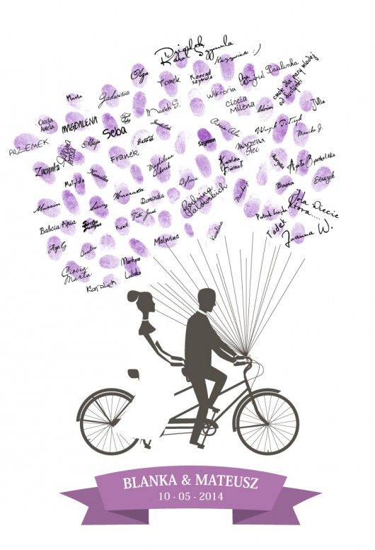Jest to unikalny,  spersonalizowany  plakat. Na plakacie  podana jest data  Waszego ślubu oraz  imiona pary młodej.  Odciski palców  tworzą baloniki,  które sprawiają  wrażenie jakby  unosiły rower wpisów  w górę.    Dodatkowo możesz  wybrać rower tandem  spośród ukazanych  poniżej ,...