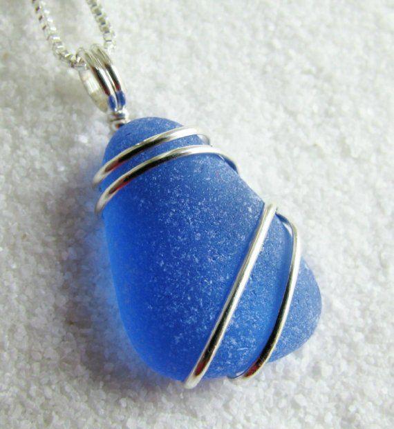 Dark Cornflower Blue Sea Glass Necklace by CreationsByRobin