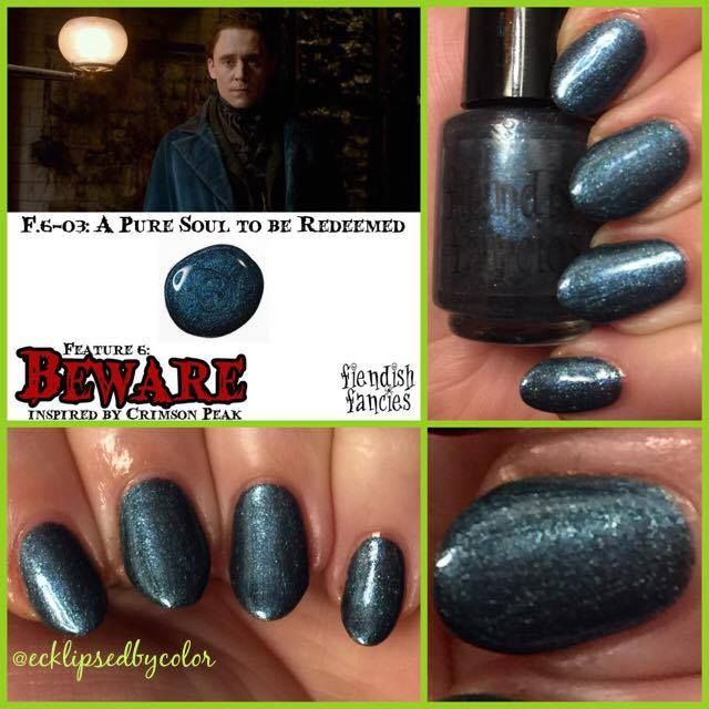F.6-03: A Pure Soul to be Redeemed  Blackened navy with blue holo and shimmer, inspired by Thomas Sharpe.: The Beware Collection ~ Inspired by Crimson Peak ~ 5-Free, vegan, cruelty-free Nail Lacquer hand-poured in Canada