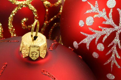 red christmas background with ball or bauble decoration